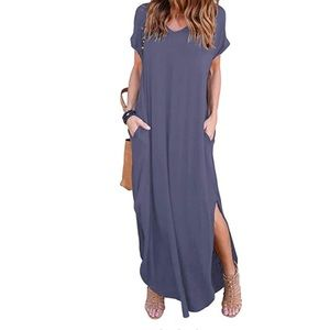 Dresses & Skirts - Purple Gray Side Pocket Loose Fit Maxi